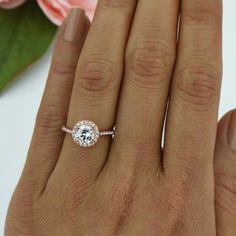 ctw Classic Round Halo Engagement Ring Wedding Ring Man Made Diamond Simulants Promise Ring Sterling Silver Rose Gold Plated Round Halo Engagement Rings, Rose Gold Engagement Ring, Vintage Engagement Rings, Halo Rings, Promise Rings, Diamond Rings, Cool Wedding Rings, Bridal Rings, Wedding Jewelry