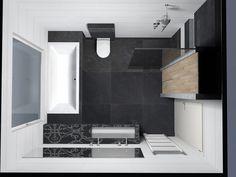 Grotere douchehoek met dichte muur bad weg wastafel en for App badkamer ontwerpen