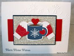 """A warm and toasty """"Scentsational Season"""" card by France Martin aka Frenchie.  ♥ the hands cradling the hot cup of cocoa!"""