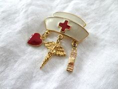 Check out this item in my Etsy shop https://www.etsy.com/listing/262963621/vintage-nurse-hat-gold-pin-medical-pin