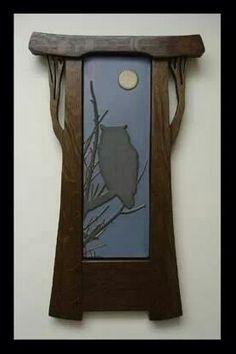 Great Horned Owl - Framed Tile - Mission Guild