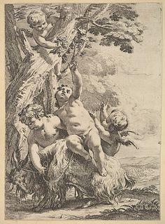 Drunken Bacchantes and Putti Anonymous Artist: After François Boucher (French, Paris 1703–1770 Paris) Date: 18th century Med...