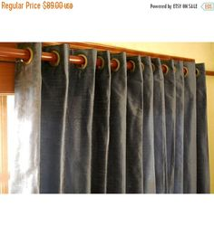"""10% THANKSGIVING SALE Pair of Dull Blue Silk Curtain Panels 26""""x84"""" Grommet Drapes Home And Living Bedroom Decor And Housewares Valance Wind"""