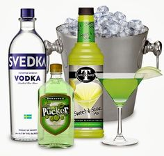 Appletini Cocktail Gift - Product Code: 2011032498 Everything you need to make a fruity martini and a fabulous gift set! Let someone kick back and relax with this Appletini Kit . This gift includes: 750ml bottle of Svedka Vodka 375ml bottle of DeKuyper Sour Apple Pucker sour mix martini glass Packed in a metal ice bucket