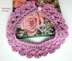 -PINK ROSE CROCHET /: Colar Rococó Lilac Crochet Collar