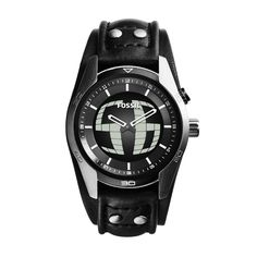 Fossil Coachman Two-Hand Digital Leather Watch - Black Black Fossil Watch, Fossil Watches For Men, Brown Leather Watch, Black Leather, Estilo Retro, Leather Cuffs, Stainless Steel Watch, Color Negra, Casio Watch