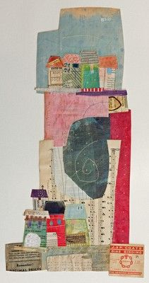Elaine Hughes - hand and machine stitched paper collages incorporating drawing, textiles and vintage ephemera