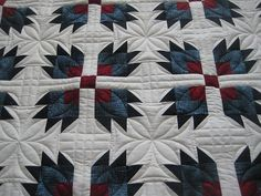 Nice quilting for a bear paw quilt. More