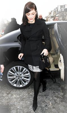 Do this look with Old Navy black tee and my snake skin print pencil skirt.  Black tights and black pumps or boots.