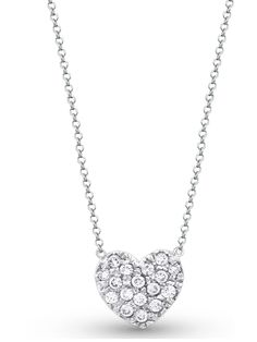 Diamond Puffy Heart Necklace, white gold.