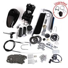 """AURELIO TECH 80cc 2-Stroke Motor Engine Kit Gas for Motorized Bicycle Bike Black  Electric bicycle conversion kit- fits any 24""""- 28"""" V-frame bikes and allows you to travel at 25 to 45 km/h. With this kit you can easily switch between pedaling (bicycle) and engine (scooter) modes- combining two pleasures in one.  Amplify your pedaling power, ride farther and faster or simply feel the wind in your hair as you zip along at super-speeds.  Maximum Power: 2.2kW/600r/min; Rated Power: 1.5Kw/5..."""