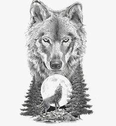 wolf tattoo design Leg is part of Best Wolf Tattoos Designs And Ideas - Wolf on moon tattoo design Wolf Tattoos, Head Tattoos, Animal Tattoos, Body Art Tattoos, Sleeve Tattoos, Circle Tattoos, Fish Tattoos, Wolf Tattoo Sleeve, Tattoo Hip
