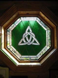 celtic design stain glass window