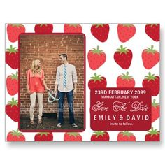 Strawberry Strawberries Save the Date Photo Cards by PipPipHoorayWedding