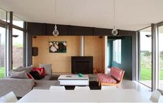 Pekapeka Beach House, Holiday House Design by Parsonson Architects Living Room view