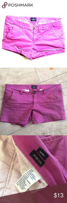 American Eagle Fuschia Purple Shorts 12 Midi So cute! This is a re-posh, they just weren't my size. Stretchy, Midi length (can be rolled at the cuff). Non smoking home. Great condition. American Eagle Outfitters Shorts