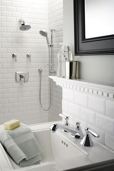 Beveled Subway Tiles look Marvelous in this Remodeled Bathroom