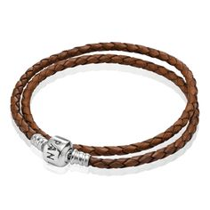 Leather pandora bracelet with just a few charms on it