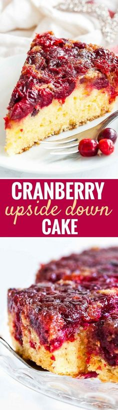 Easy Cranberry Upside Down Cake has a perfectly balanced flavor and looks so festive and vibrant. A gorgeous coffee cake made withfresh cranberries that's perfect for Christmas and Thanksgiving dessert and can be made ahead! #ThanksgivingDessert #ChristmasDessert #UpsidedownCake #Cranberries #CranberryCake