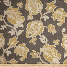 Screen printed on cotton duck; this versatile, medium weight fabric is perfect for window accents (draperies, valances, curtains and swags), accent pillows, duvet covers, upholstery and other home decor accents. Create handbags, tote bags, aprons and more. Colors include grey, mustard, and beige.