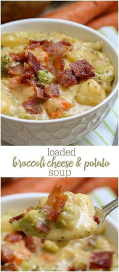 Loaded Broccoli, Cheese and Potato Soup - so full of flavor and so many delicious ingredients. This soup will keep you warm and full any time of year! { }Loaded Broccoli, Cheese and Potato Soup - so full of flavor and so many delicious ingredients. Broccoli Potato Cheese Soup, Broccoli Soup Recipes, Cheese Potatoes, Cauliflower Soup, Loaded Potato Soup, Potato Soup Recipes, Cheddar Broccoli Potato Soup, Vegetable Potato Soup, Broccoli Ideas