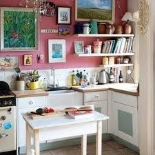 How about a pink & white kitchen.