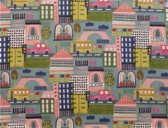 blue Alexander Henry fabric colorful building - Children Fabric - Fabric - kawaii shop modeS4u