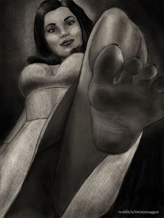 Femdom fetish art by twistymaggot featuring foot fetish from slave POV