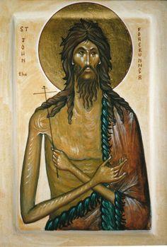 St John the Baptist - Aidan Hart Sacred Icons Byzantine Icons, Byzantine Art, Religious Icons, Religious Art, Greek Icons, John The Baptist, Orthodox Icons, Sacred Art, Italia