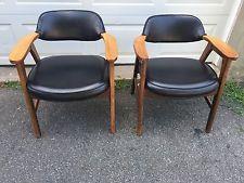 Pair Of Vintage Mid Century Danish Modern Arm Lounge Chairs...