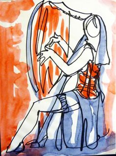 Buy 1 Line - Girl playing the Harp, Watercolours by Art as you Go on Artfinder…