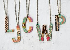 $36 AUD Helvetica handpainted Initial Necklace by JillMakes on Etsy