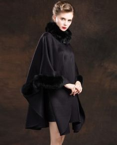 Real Fur Coat & Jacket | Real Fur Coat & Jacket | Fox Trimmed Cashmere Cape | SKU-ffcafo138b | Fur Shop Online Cashmere Cape, Collar And Cuff, Black Pattern, Fox Fur, Fur Trim, Coats For Women, Fur Coat, Jackets, Outfits
