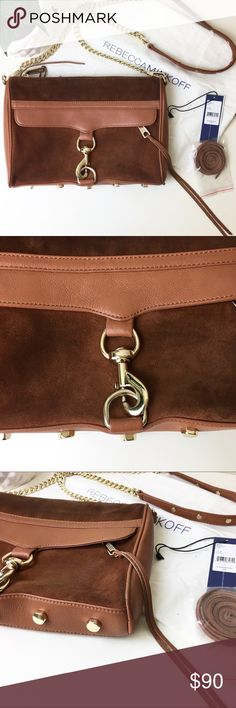Rebecca Minkoff Brown suede Mac purse Rebecca minkoff MAC purse in a combination of soft leather and suede in almond / brown color with gold hardware good used condition it has some overall wear (please review pictures carefully)and marks from rubbing against my jeans.  Offers welcome! I would trade for a Marc Jacobs Natasha mini in Black! Rebecca Minkoff Bags Crossbody Bags