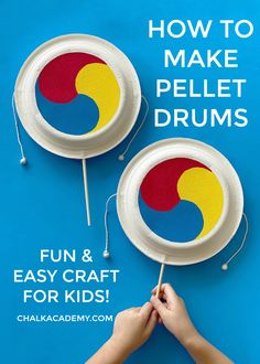 How to make paper plate pellet drums - easy Korean craft for kids! New Year's Crafts, Easy Crafts For Kids, Craft Stick Crafts, Korean Crafts, Asian Crafts, Drum Craft, New Years Traditions, World Thinking Day, Music Crafts