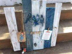 Rustic pallet wood blue bird message board by PolishedExpression, $50.00