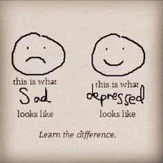 look for the differences between sad and depressed. the depressed are better at hiding it than the sad ones.