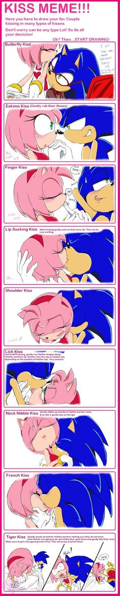 Sonic and Amy Kiss Meme by AiSonikkuXEmmy on DeviantArt Sonic And Amy, Sonic And Shadow, Amy Rose, Drawing Cartoon Characters, Cartoon Drawings, Kiss Meme, Sonamy Comic, Sonic Unleashed, Celestia And Luna