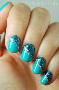 Two looks using enamel and spangles for an easy, sparkly manicure.