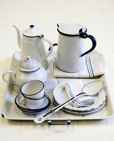 White and blue enamelware