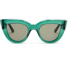Ellery Quixote cat-eye sunglasses ($315) ❤ liked on Polyvore featuring accessories, eyewear, sunglasses, acetate glasses, acetate sunglasses, e l l e r y, green sunglasses and cat eye sunglasses
