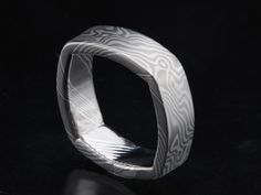 7mm wide mokume square ring in non-etched palladium 950 and sterling silver in tight wood grain pattern