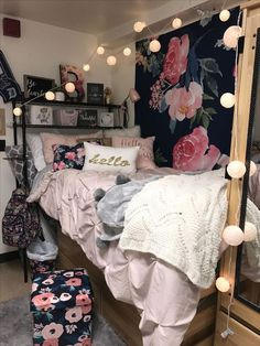 CUTE college girl dorm room inspiration, floral roses white pink red black, lights