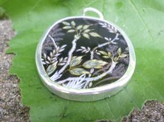 Broken China Necklace Pendant  Sterling Leaves Black Gold Accents by MaroonedJewelry on Etsy