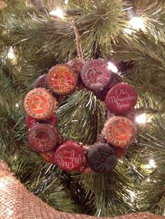 Items similar to Vintage Bottle Caps Wreath Ornament 4 inch. Prim Christmas, Vintage Christmas, Christmas Wreaths, Christmas Decorations, Country Christmas, Xmas Ornaments, Ornament Wreath, Beer Cap Crafts, Bottle Top Crafts