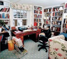 Writers' rooms: Antonia Fraser Little Library, Dream Library, Writers Desk, Writing Studio, Small Home Offices, Room Of One's Own, Writers And Poets, Study Space, Bookshelves