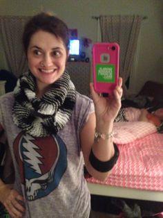 Hand knit DIY infinity scarf