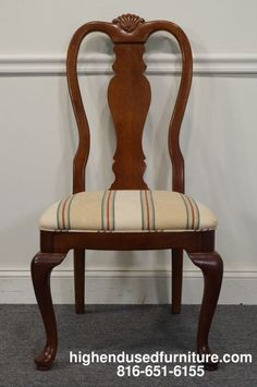 BERNHARDT Dominion Cherry Collection Queen Anne Dining Side Chair Hampton Finish