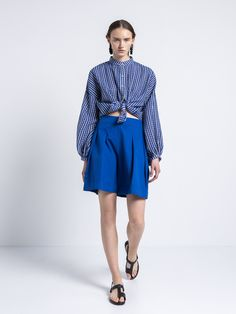 IOANNA KOURBELA SHIRT CYCLADIC LAND 20300-12913 Golden Hall, New Freedom, Travel Light, Women Brands, Blue And White, Clothes For Women, Unity, Greece, Cotton