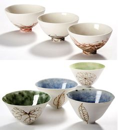porcelain bowls - decorative surface   [by Australian ceramicist, Shannon Garson]